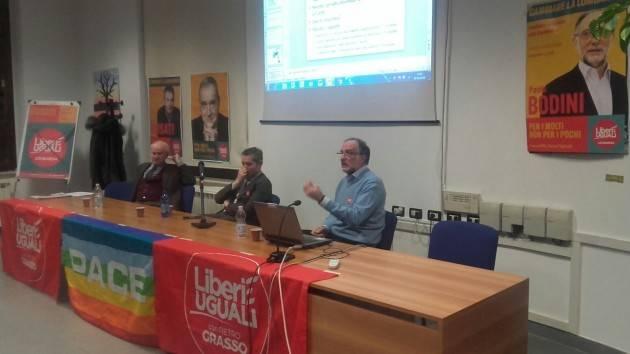 Sanità e disuguaglianze . Riuscito incontro  in sala Zanoni con Paolo Bodini  di Liberi e Uguali