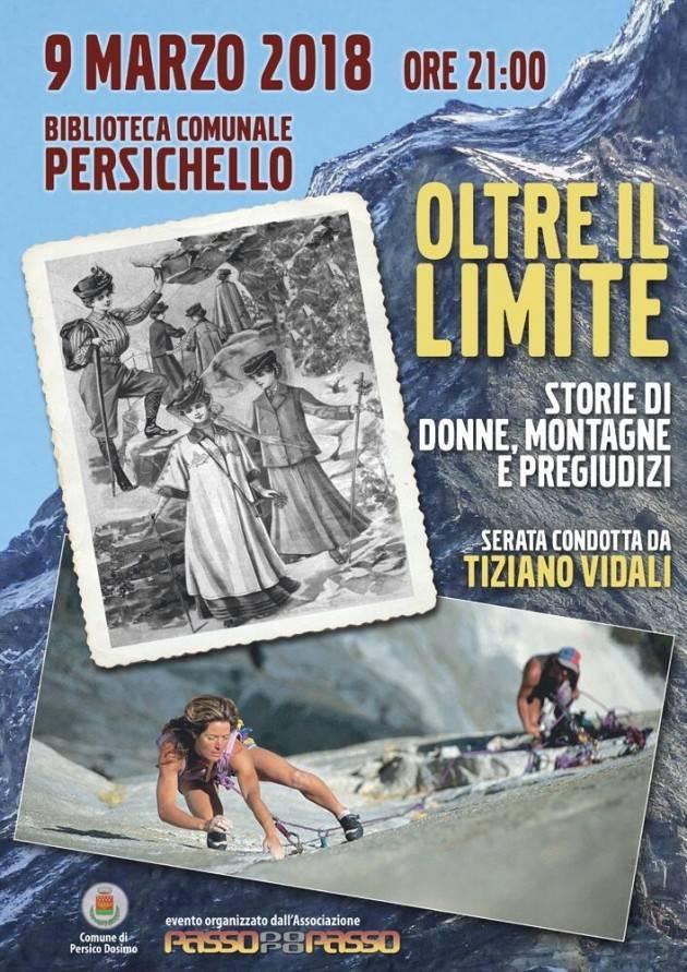 L'ECOAGENDA Stasera 9/3 a Persichello serata  su  'OLTRE IL LIMITE storie di donne, montagne e pregiudizi'
