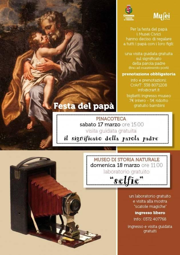 Cremona Musei Civici: due appuntamenti speciali per la Festa del papà