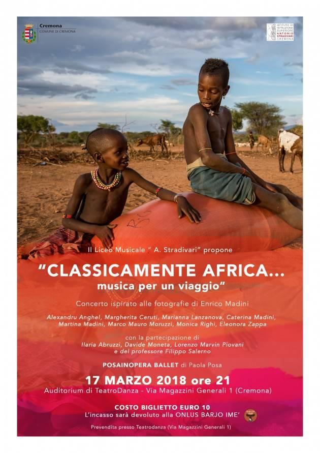 Teatro Danza Cremona 'CLASSICAMENTE AFRICA'  il 17/3 QUANDO MUSICA  DANZA E IMMAGINI SI FONDONO