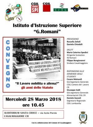Casalmaggiore IL LAVORO NOBILITA' O ALIENA Incontro con gli studenti del Romani il 28 marzo