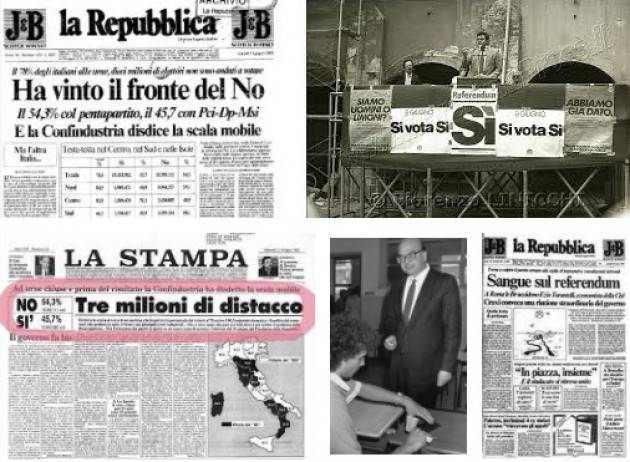 AccaddeOggi   9-10 giugno 1985 Referendumsul taglio della scala mobile in Italia