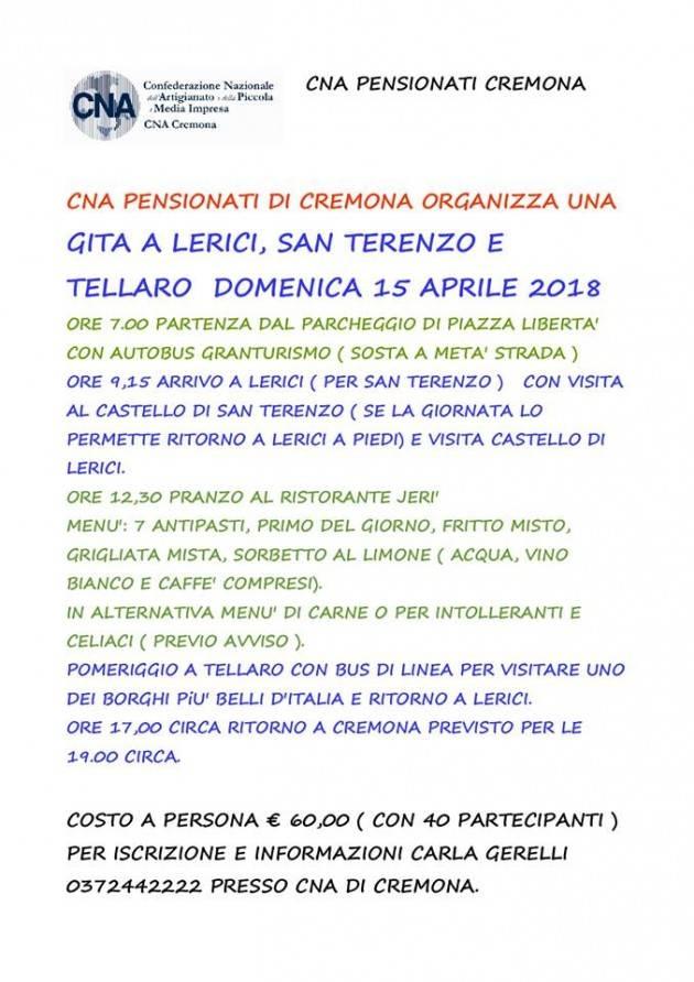 CNA  Pensionati  domenica 15 aprile la gita a Lerici e Tellaro