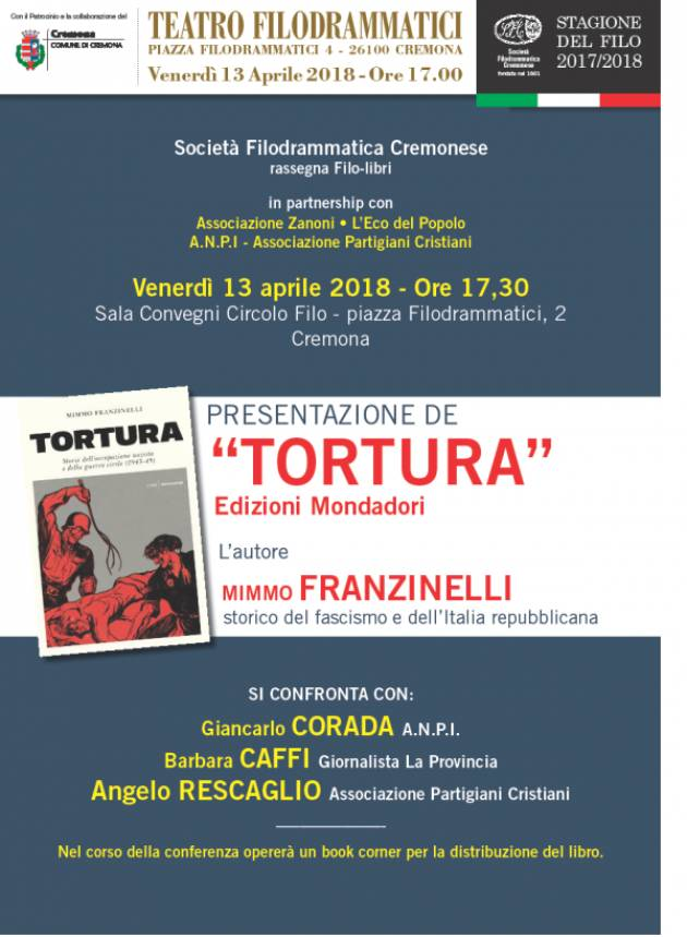 L'ECOLIBRI Mimmo Franzinelli presenta 'Tortura' il 13 aprile al Filo