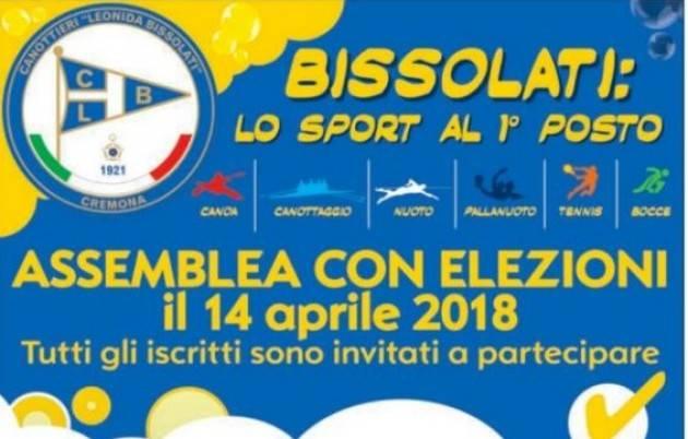 (Inter.Tel.) Canottieri Bissolati M.Segalini invita  a partecipare all'assemblea di sabato 14 aprile