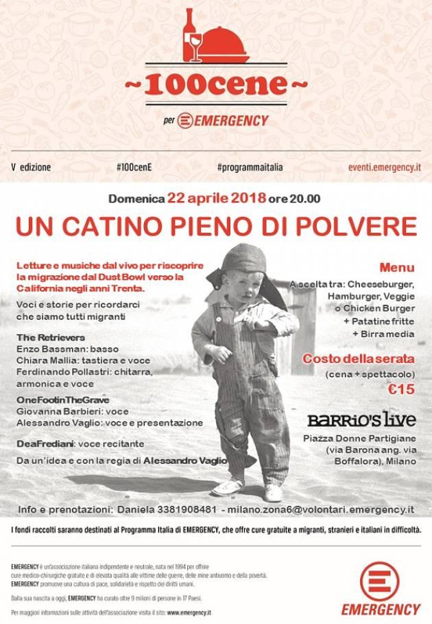 'Un catino pieno di polvere': cena-spettacolo per Emergency