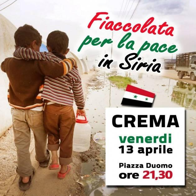 A Crema Venerdì 13 Fiaccolata per Pace in Siria Appello di Stefania Bonaldi alla partecipazione