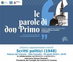 Cremona: 'Le Parole di don Primo', lettura degli Scritti politici