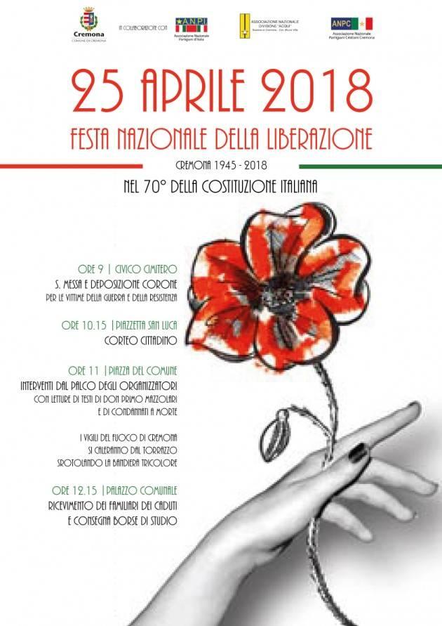 Cremona 73° anniversario della Liberazione, il programma del 25 aprile