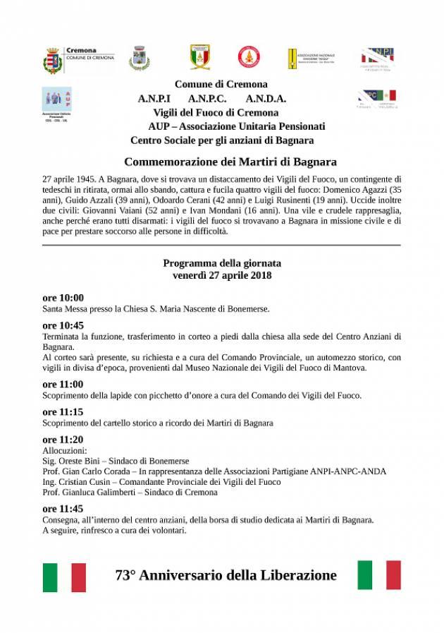 Cremona: cerimonia in memoria dei Martiri di Bagnara