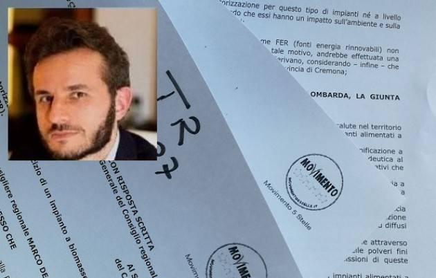 Marco Degli Angeli (M5S) INTERROGAZIONE REGIONALE - NO ALLA CENTRALE A BIOMASSE DI CASTELLEONE