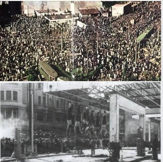 AccaddeOggi  #29aprile 1945 Benito Mussolini e i 17  giustiziati a Dongo vengono esposti a piazzale Loreto a Milano