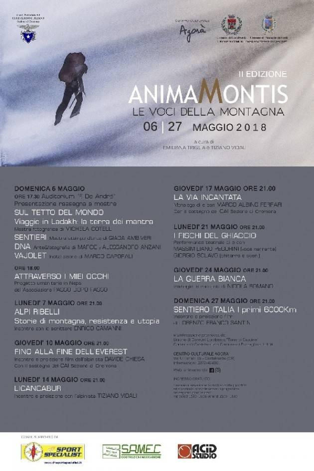 L'ECOAGENDAEVENTI ANIMA MONTIS voci della montagna a cura del CAI Cremonese Evento  24 maggio