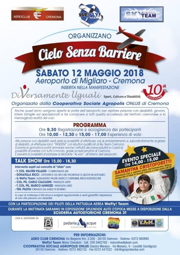 Samantha Cristoforetti a Cremona per Cielo senza barriere 2018 sabato 12 maggio