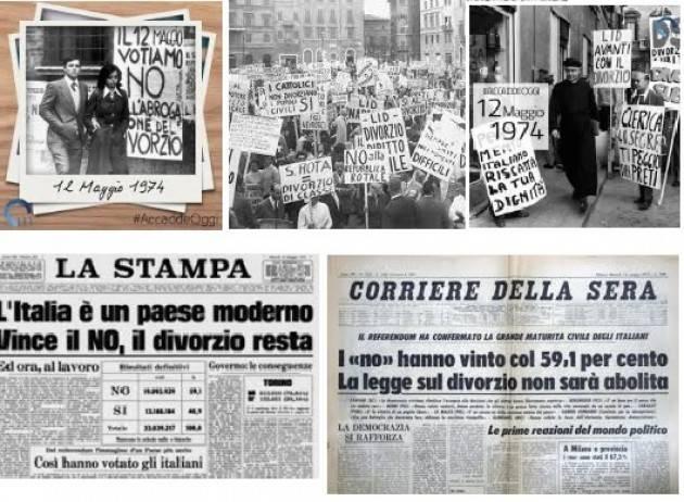 AccaddeOggi   #12maggio 1974 - Italia: nel referendum il  divorzio  viene confermato con il 59,3%