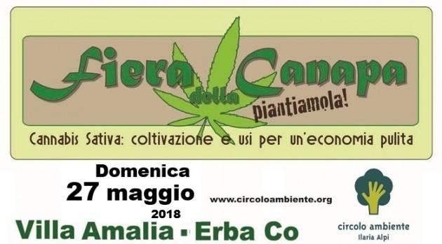 Ad Erba Il Circolo Ambiente 'Ilaria Alpi' organizza la 2° edizione della fiera alla cannabis sativa il 27 maggio