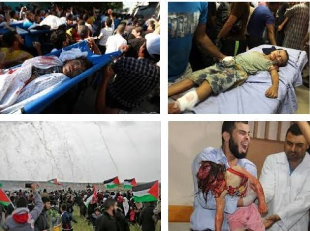 Israele in festa  inaugura l'ambasciata USA , ma il suo esercito spara a Gaza e fa 50 morti di Gian Carlo Storti