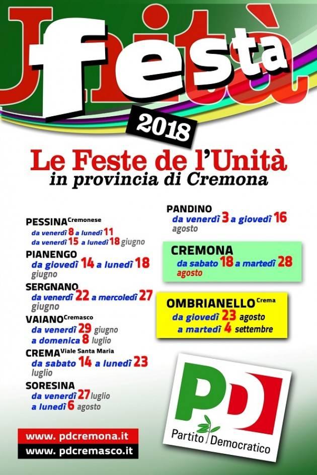 Estate 2018: tra giugno e settembre torna l'appuntamento con le Feste dell'Unità nella provincia di Cremona