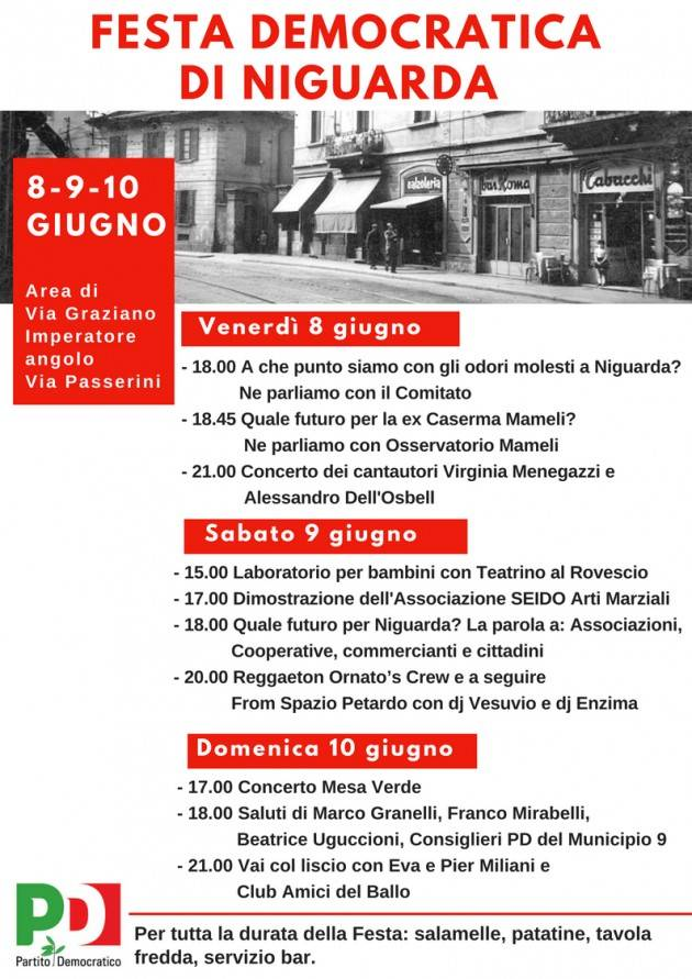 Milano 8-9-10 giugno Festa Democratica di Niguarda