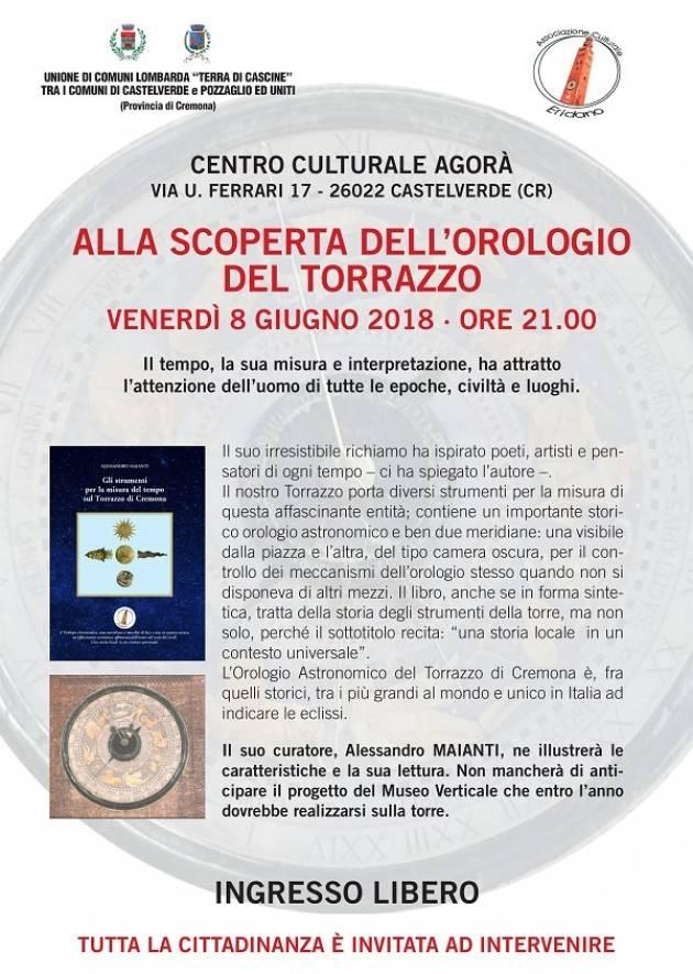 Castelverde: venerdì 8/6 alla scoperta dell'orologio del Torrazzo