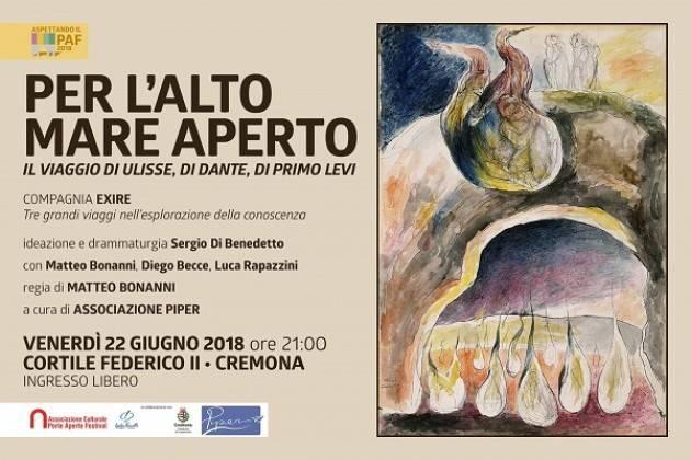 Anteprime Porte Aperte Festival: lo spettacolo 'Per l'alto mare aperto' - il viaggio di Ulisse, Dante, Primo Levi