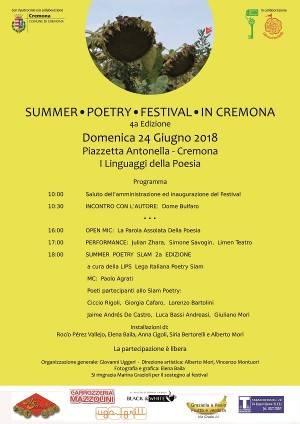 Cremona: domenica 24 giugno 'Summer Poetry Festival In Cremona'