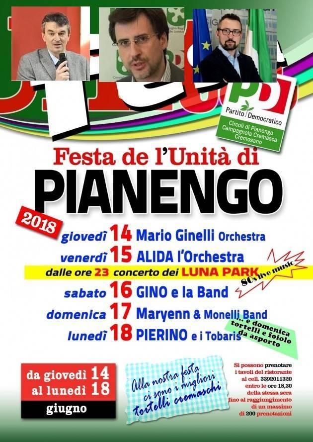 Pianengo. Giovedì 14 si apre la Festa dell'Unità con  Fabio Pizzul, Carlo Borghetti e Matteo Piloni