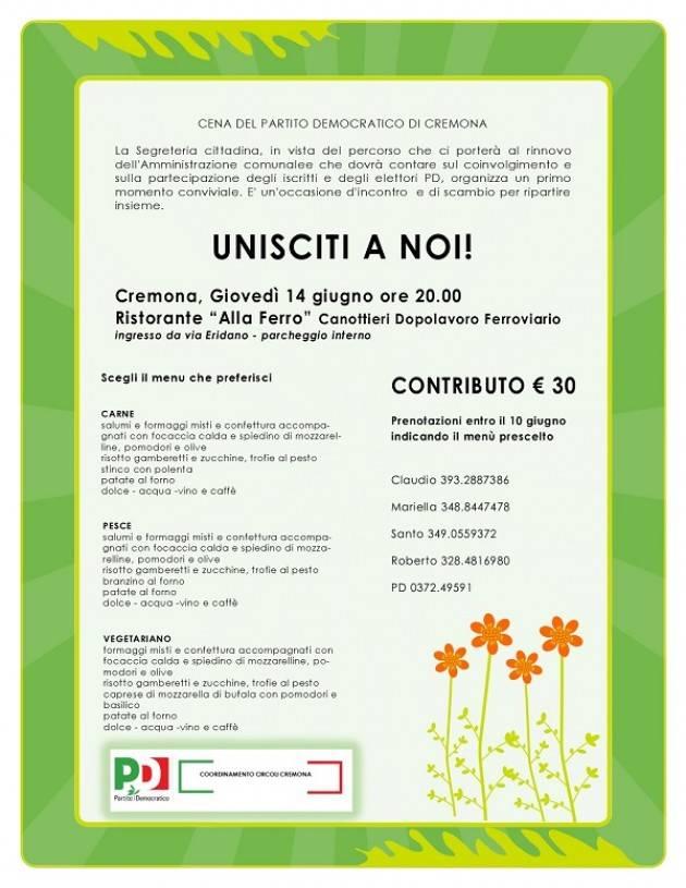 Cremona Cena del Partito Democratico  di giovedì 14 giugno alle ore 20