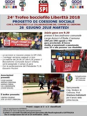 Pianeta Anziani .SPI-CGIL Cremona  Progetto di coesione sociale il 26 giugno finale di bocce