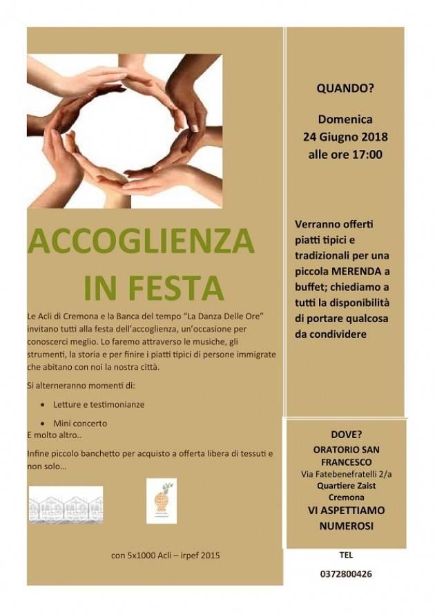 Cremona: il 24 giugno 'Accoglienza in Festa'