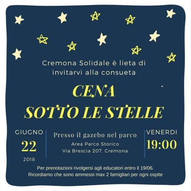 Azienda Cremona Solidale La tradizionale Cena Sotto le Stelle  il 22 giugno 2018