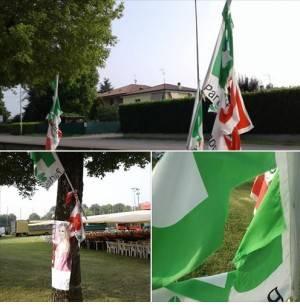 Festa Unità 2018 Sergnano. 'Buontemponi' fanno i dispetti e tagliano nella notte le bandiere del PD di Mauro Giroletti
