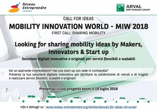 'MOBILITY INNOVATION WORLD - MIW 2018': prima call per Réseau Entreprendre Lombardia e Arval sulla sharing mobility