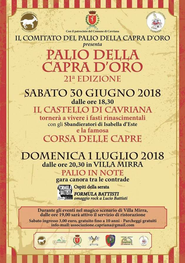 Palio della Capra d'Oro a Cavriana: 21^ edizione al via sabato 30 giugno