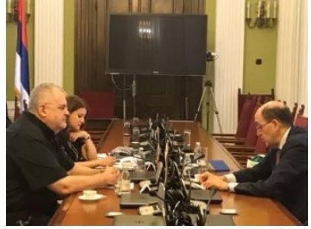 AISE BELGRADO: L'AMBASCIATORE LO CASCIO INCONTRA IL PRESIDENTE DELLA COMMISSIONE PARLAMENTARE PER L'INTEGRAZIONE EUROPEA
