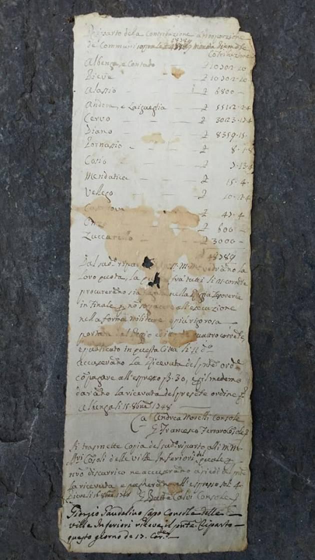 Alle origini della nostra civiltà : un documento del 1748 sulla contribuzione in Valle Arroscia di Christian Flammia