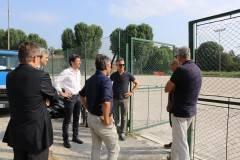 Cremona Campo Cambonino: lavori in corso per il nuovo manto Sopralluogo di Sindaco, Assessori, tecnici e Torrazzo