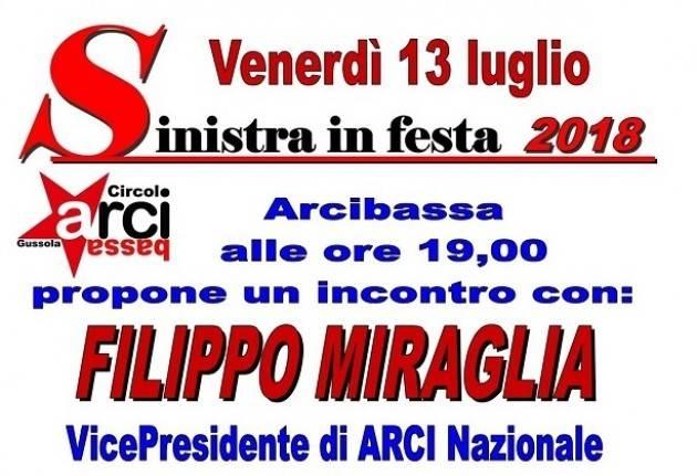 Sinistra in Festa  a Gussola Venerdì 13 dibattito su migranti con Filippo Miraglia (Arci Nazionale)