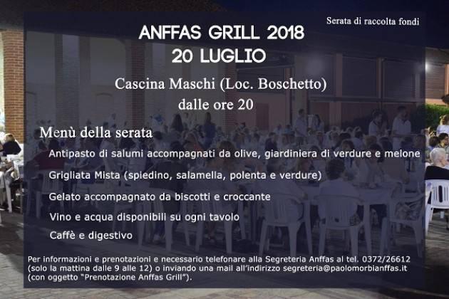 Anffas Cremona Onlus organizza: ANFFAS GRILL 2018 20 luglio 2018 dalle ore 20 alle 24