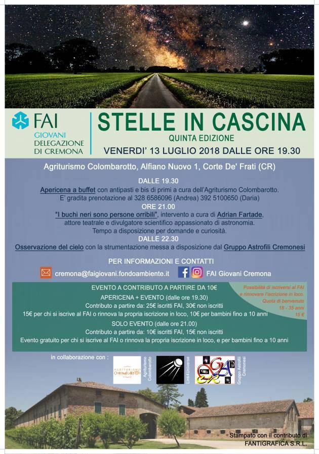 STELLE IN CASCINA - V EDIZIONE Venerdì 13 luglio ore 21 - Agriturismo Colombarotto, Alfiano Nuovo 1, Corte de' Frati (CR)