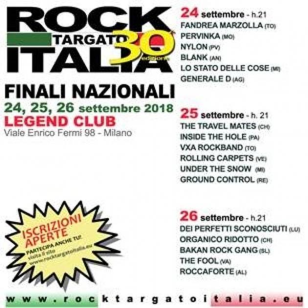 A Milano nei giorni  24 – 25 – 26 settembre  2018 Finali Nazionali ROCK TARGATO ITALIA XXX Edizione