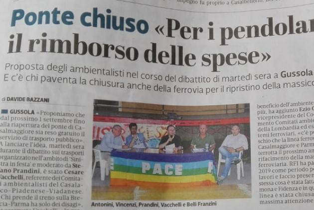 Ponte sul Po chiuso a Casalmaggiore Cesare Vacchelli vi invita a votare il sondaggio per rimborso spese di viaggio.