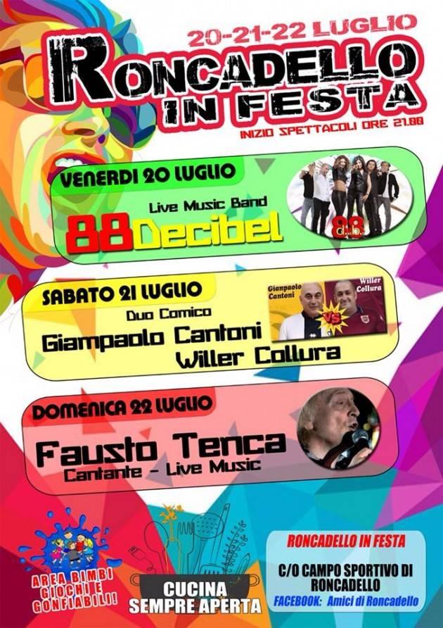 Tre giorni di festa a Roncadello: 88decibel, Gianpaolo Cantoni e Fausto Tenca