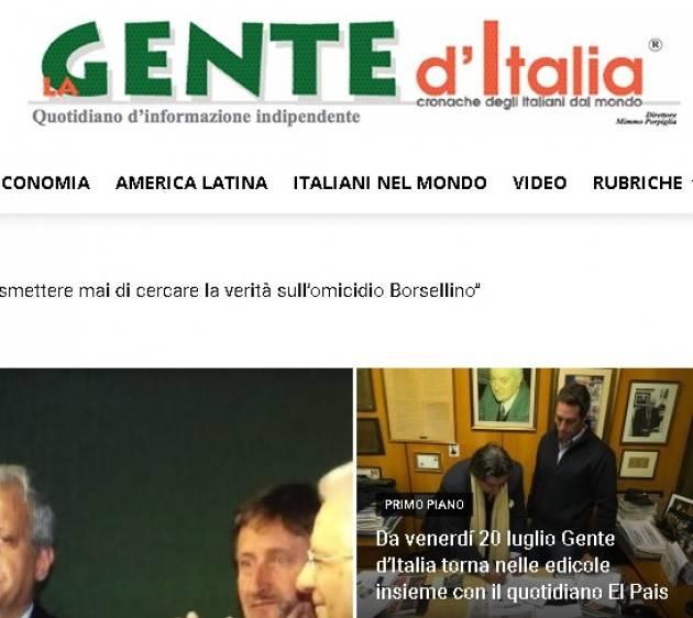 AISE URUGUAY: DA VENERDÍ 'GENTE D'ITALIA' TORNA NELLE EDICOLE INSIEME CON IL QUOTIDIANO 'EL PAIS'