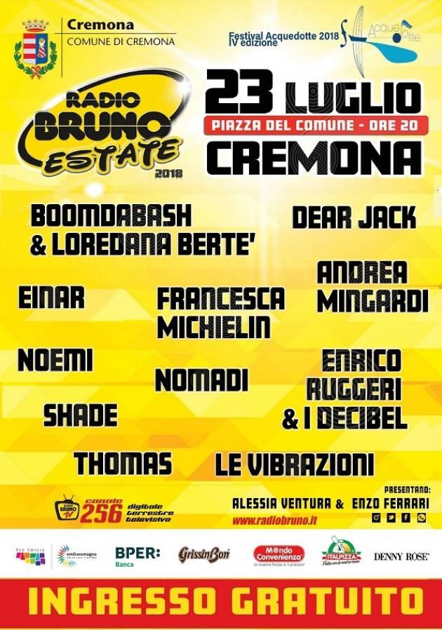 Per la prima volta a Cremona Radio Bruno Estate