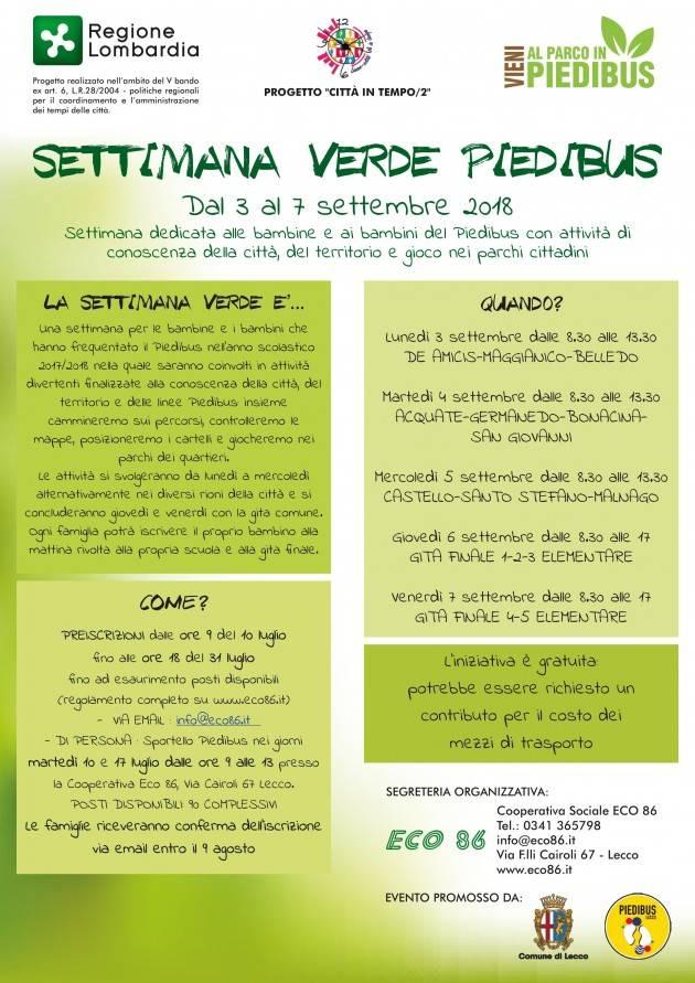 Lecco Settimana verde Piedibus dal 3 al 7 settembre : occorre iscriversi entro il 31 luglio
