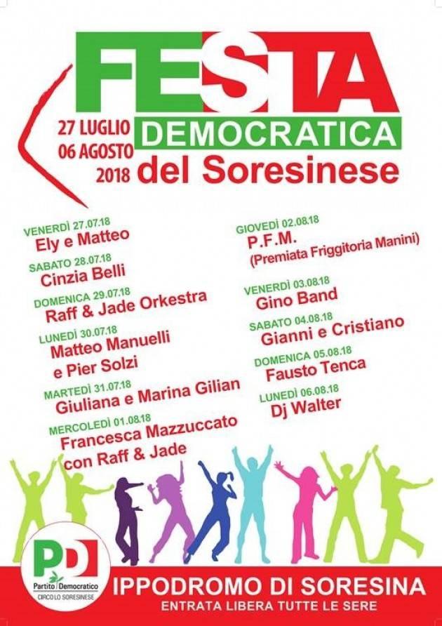 La Festa Democratica di Soresina continua e fino al 6 agosto.