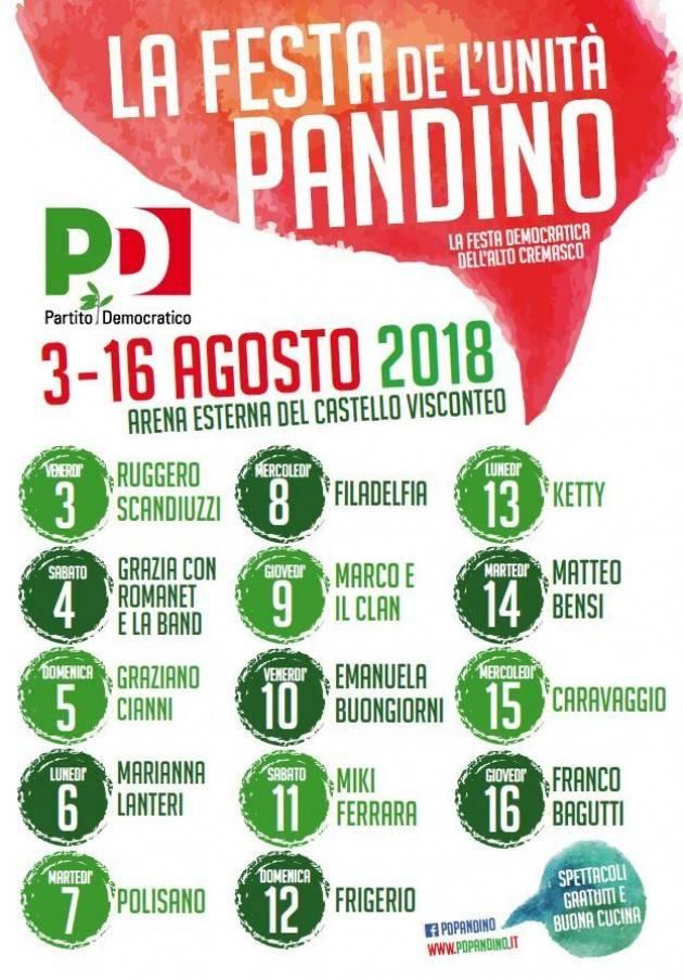 Feste dell'Unità del PD. Soresina chiude il 6 agosto . Pandino ha aperto il 3 e termina il 16 agosto