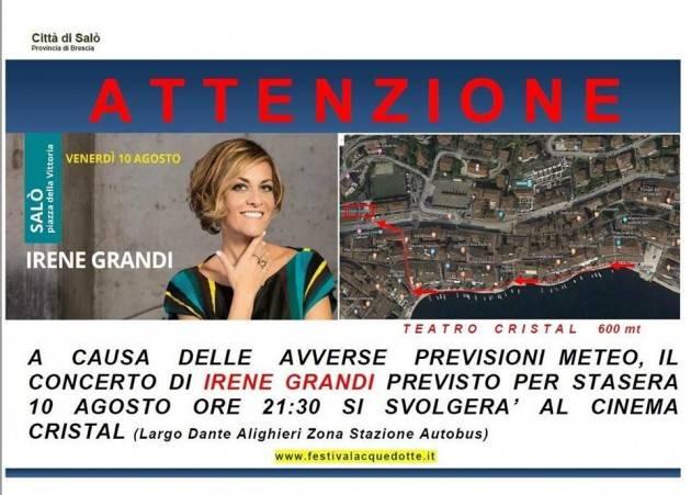 Irene Grandi canterà Mina a Salò - concerto spostato al Cinema Cristall