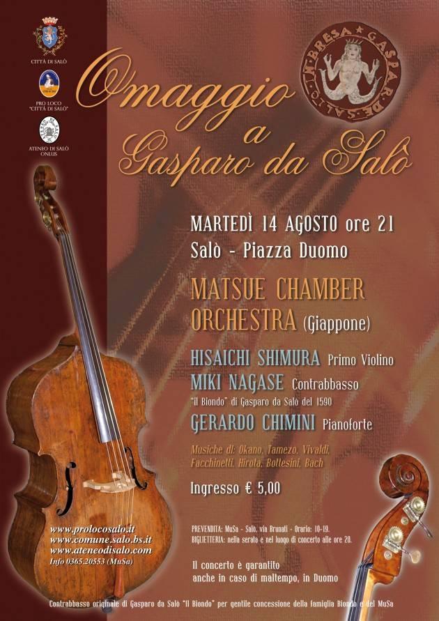 Il Giappone e la Città di Salò omaggiano Gasparo da Salò con un concerto